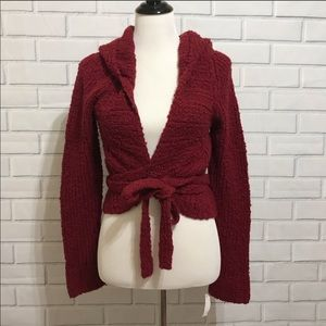 Free people wrap tie hoodie sweater size medium